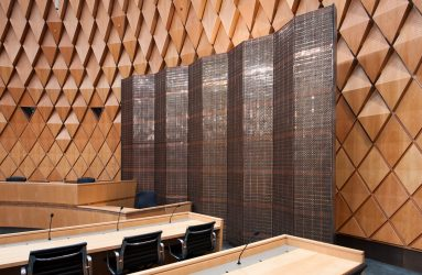 Architect: Warren & Mahoney Location: Supreme Court Wellington Product: Custom Copper & Brass Woven Wire