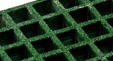 FRP grating includes a coarse grit on its surface, which improves traction.
